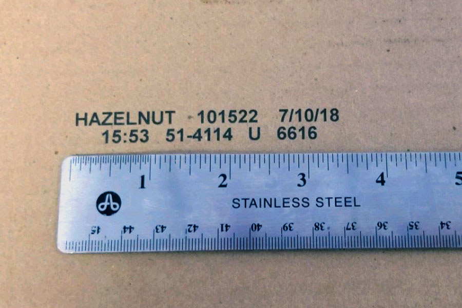 cardboard imprint with ruler