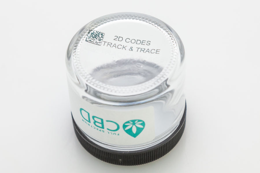 glass CBD jar 2d code track and trace