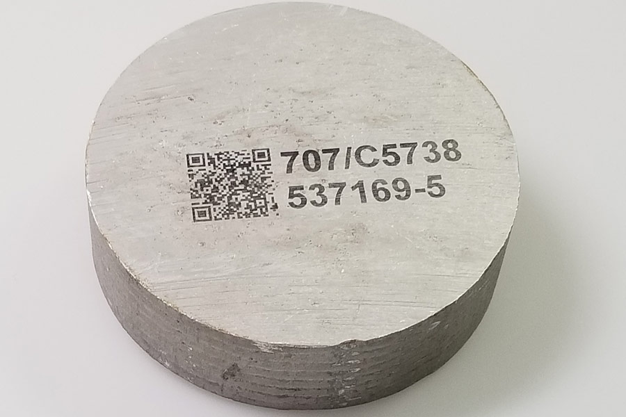 metal disc with qr code and part number