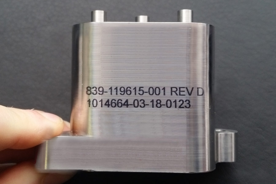 metal part with serial number