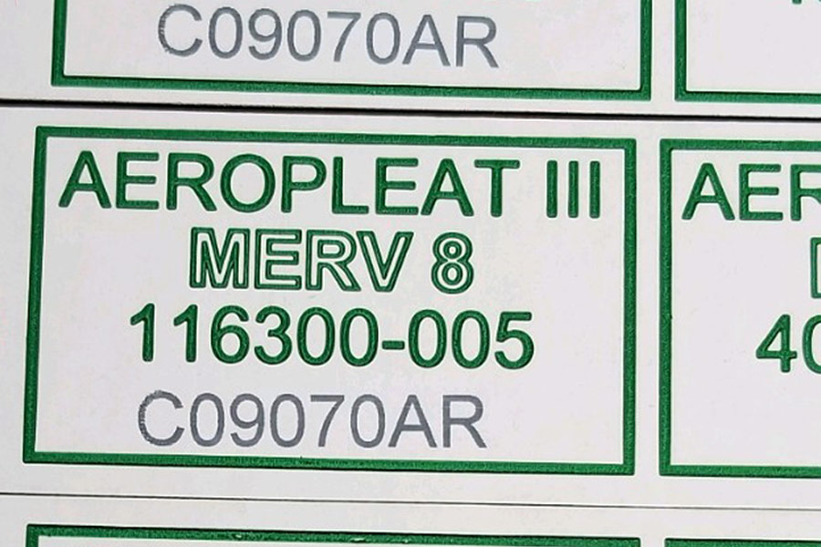 paper label with alphanumeric code