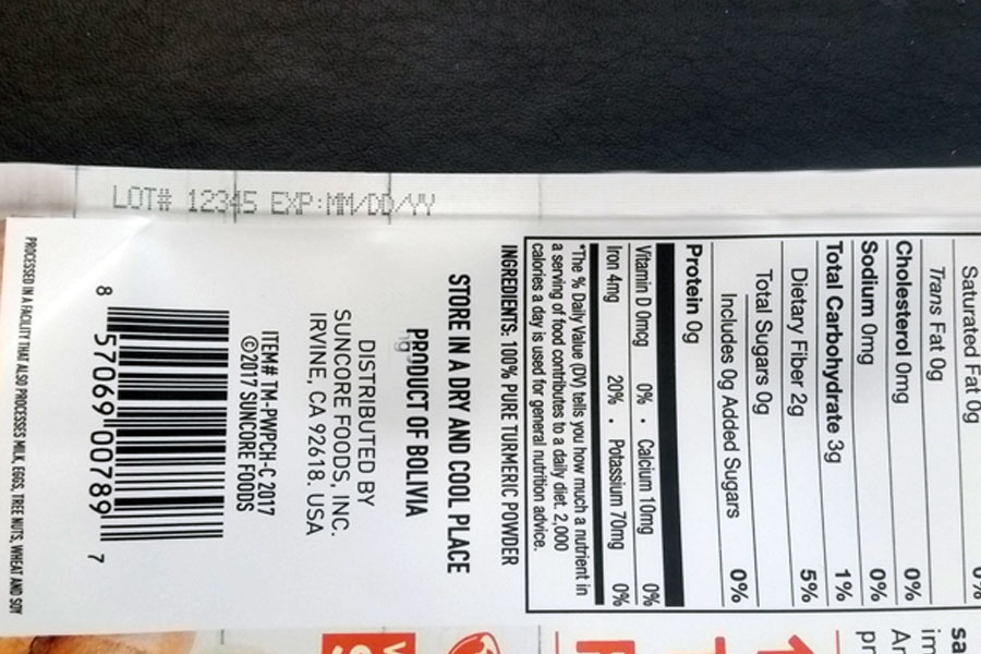 plastic pouch with nutritional info and imprinted expiration date