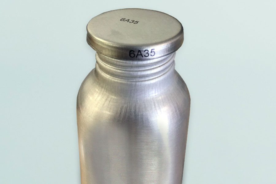 metal bottle with imprint