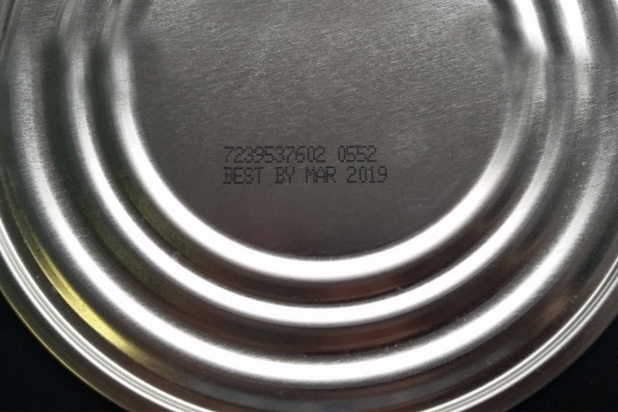 metal can lid with imprint