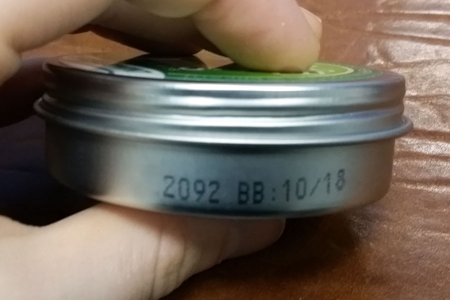 metal tin with imprint