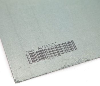 grey cardboard with barcode and serial code