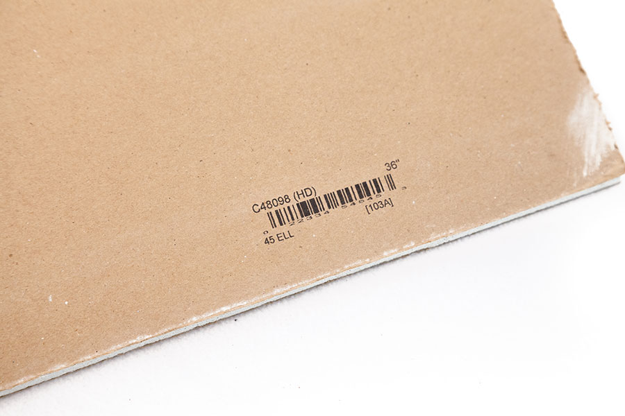 cardboard with barcode and size