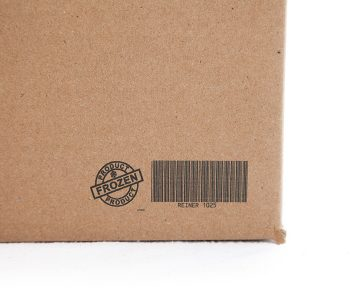 box with frozen product graphic and barcode