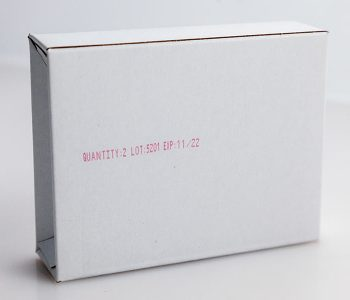 cardboard box with quantity, lot, and expiration in red ink