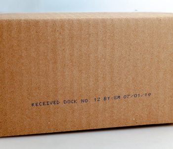 cardboard box with received date