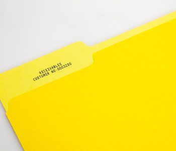 Yellow folder receivables with customer number