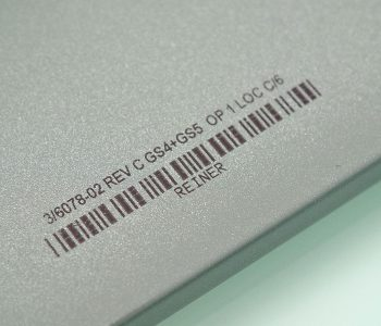 metal with barcode and part number