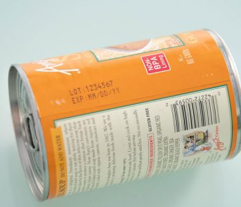 food can sticker label with lot number and expiration date