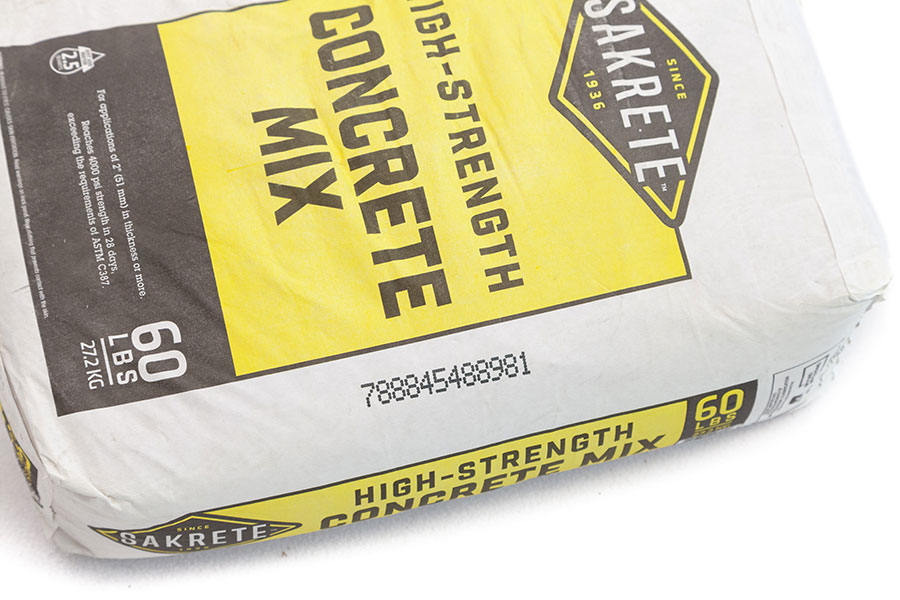 cement mix bag with serial code