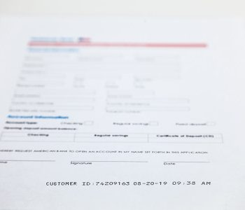 paper form with customer id date and time