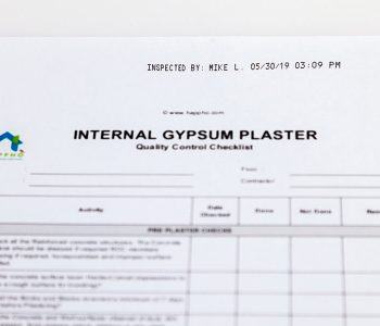 quality control checklist with inspected date and time
