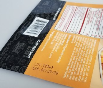 cardboard/paperboard food packaging insert with lot number and expiration date