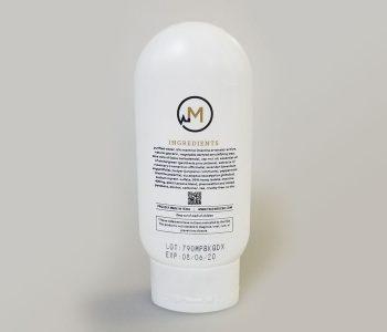 plastic CBD cream bottle with lot and expiration