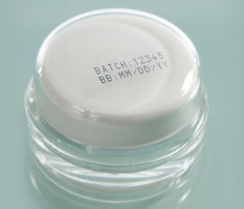 plastic jar with batch number print on cap
