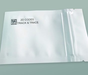 Plastic pouch with 2D Track and Trace code