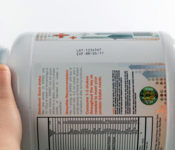 plastic tub with lot and expiration on side