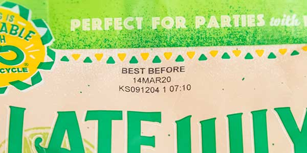best before expiration date printed on chip bag