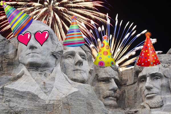 mt rushmore presidents with party hats and fireworks